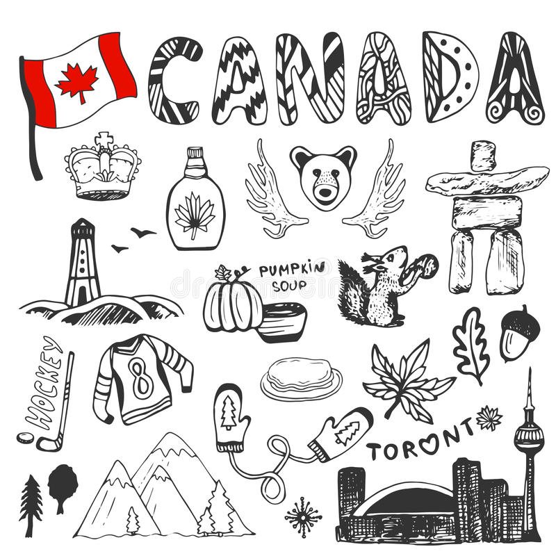 Coleção tirada mão do esboço de símbolos de Canadá Elementos ajustados da cultura canadense para o projeto Ilustração do curso do ilustração stock