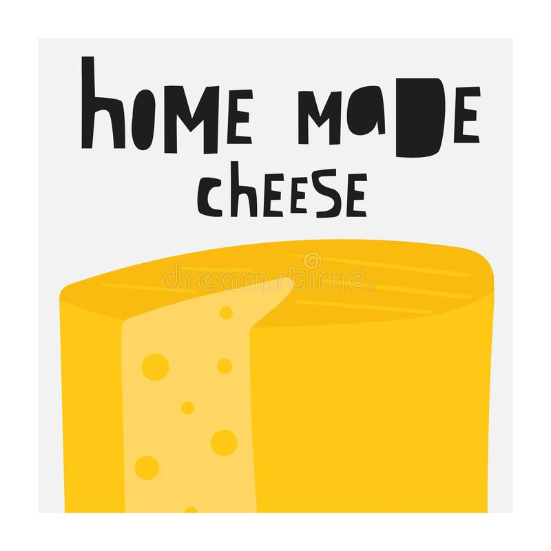 Coleção tirada mão do queijo que inclui o feta, mussarela, suíço, roquefort, edam, maasdam, Parmesão, queijo Cheddar, brie ilustração stock