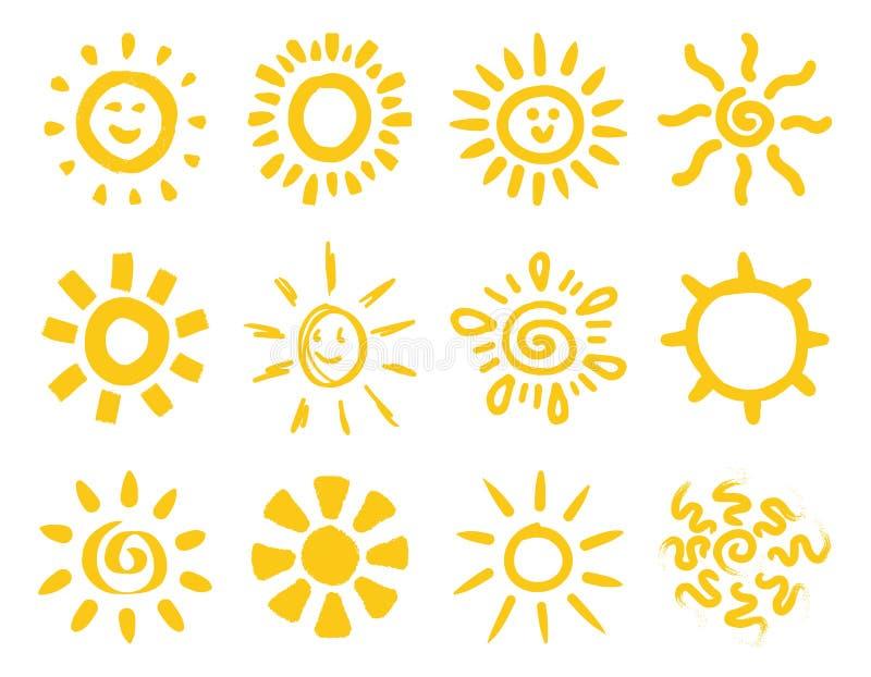 Coleção tirada mão do sol ilustração stock