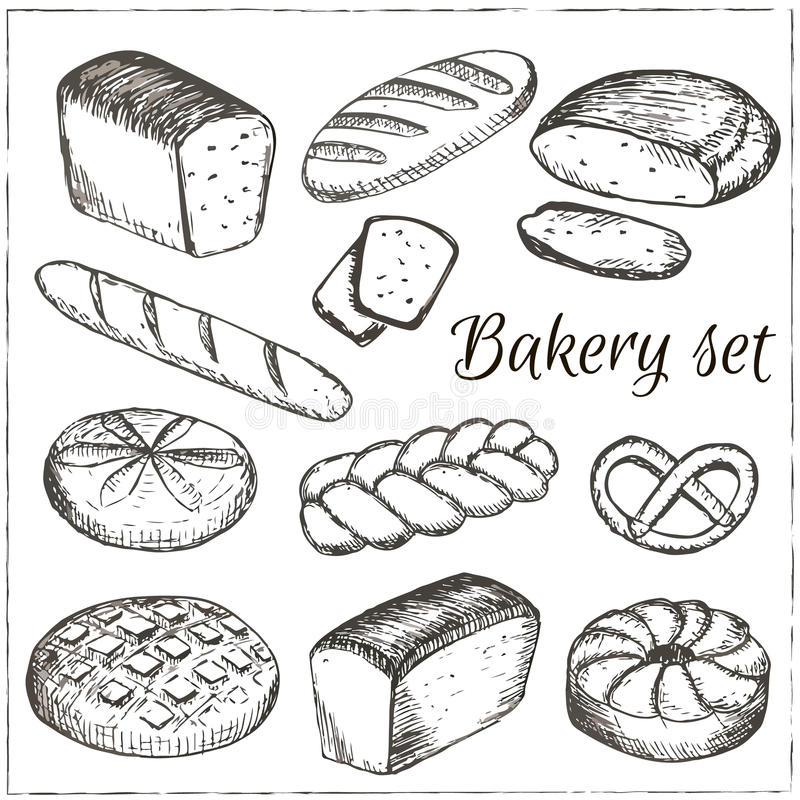 Coleção tirada mão do vetor da padaria ilustração stock