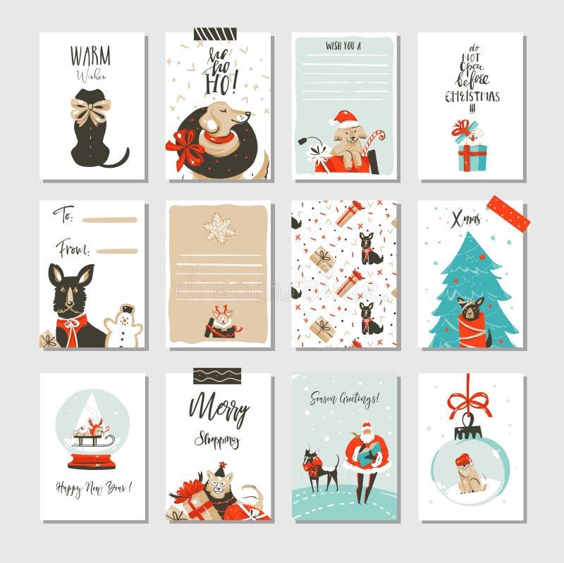 A coleção tirada mão dos cartões dos desenhos animados do tempo do Feliz Natal do divertimento do sumário do vetor ajustou-se com ilustração do vetor