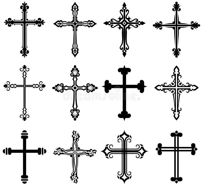 Coleção transversal religiosa do projeto ilustração royalty free