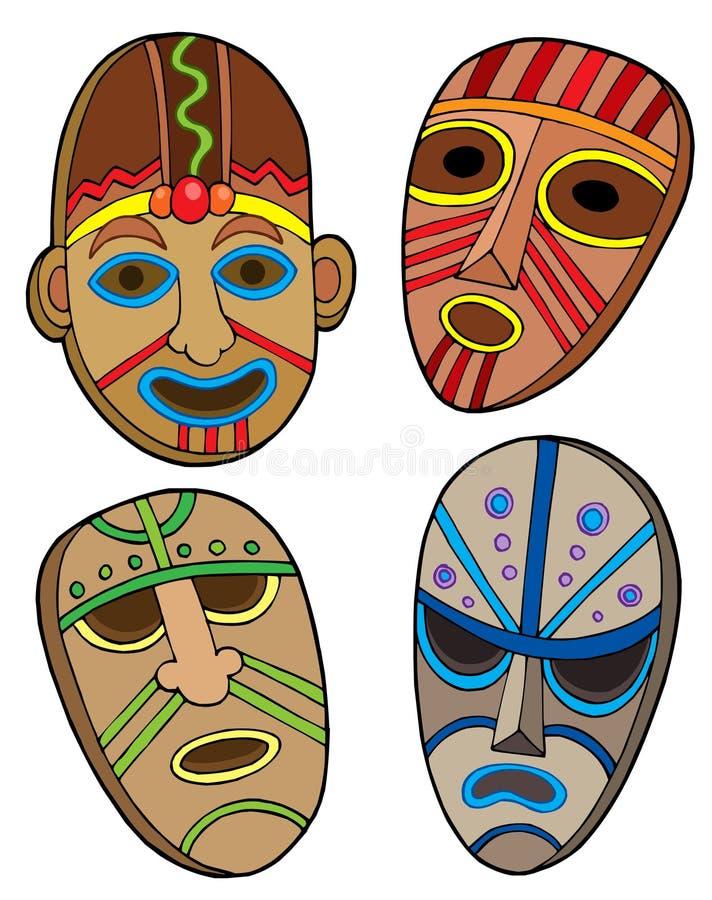 Coleção tribal das máscaras ilustração stock