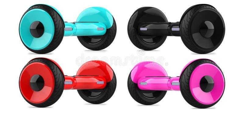 Coleção, um grupo de 'trotinette's de equilíbrio do auto da cor vermelha cor-de-rosa do céu preto e azul hoverboard colorido da p ilustração stock