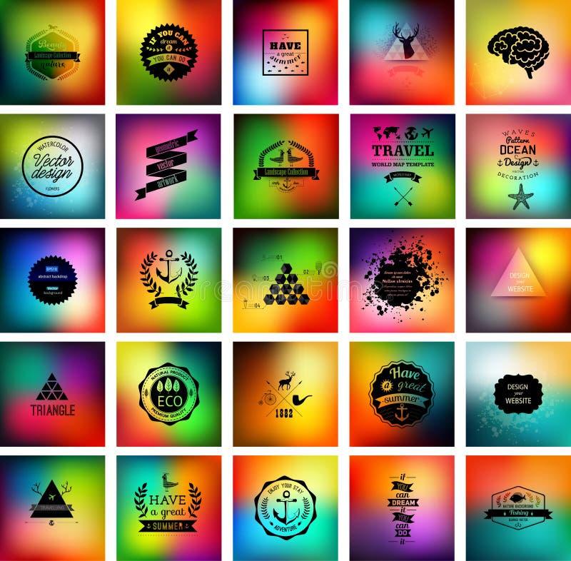 Coleção unfocused do fundo do vetor O grupo de imagens borradas com logotipos e ícones ajustou-se para o projeto de negócio Unfoc ilustração stock