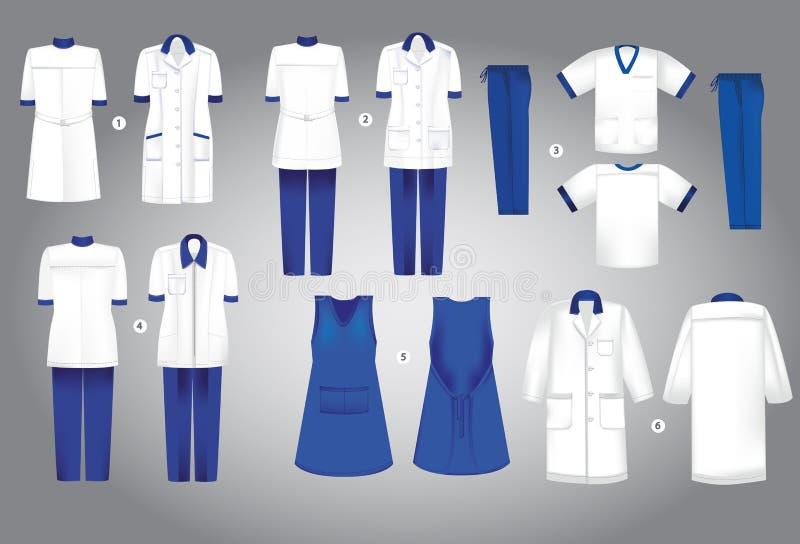 Coleção uniforme médica 1 roupa para o trabalho ilustração do vetor