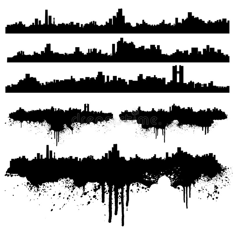 Coleção urbana do splatter das skylines ilustração stock