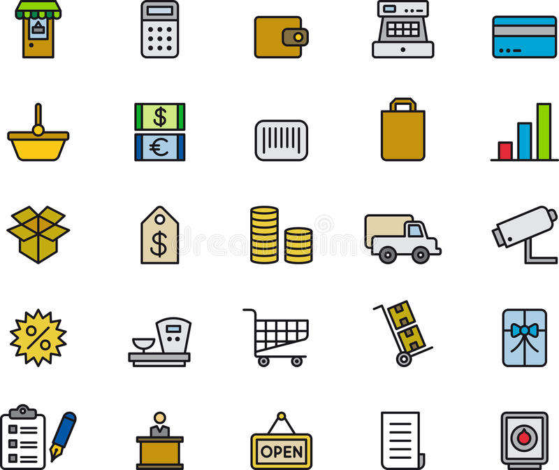 Coleção varejo dos ícones da compra ilustração do vetor