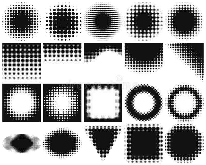 Coleção vazia dos elementos do projeto com a reticulação que muda da obscuridade à luz ilustração stock