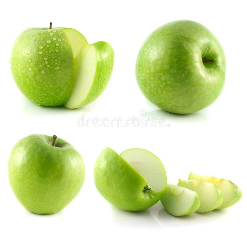 Coleção verde da maçã no branco imagens de stock royalty free