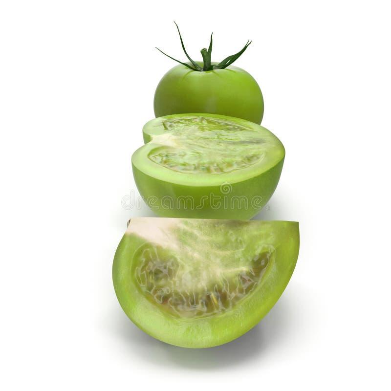 Coleção verde do tomate isolada no fundo branco ilustração 3D ilustração royalty free