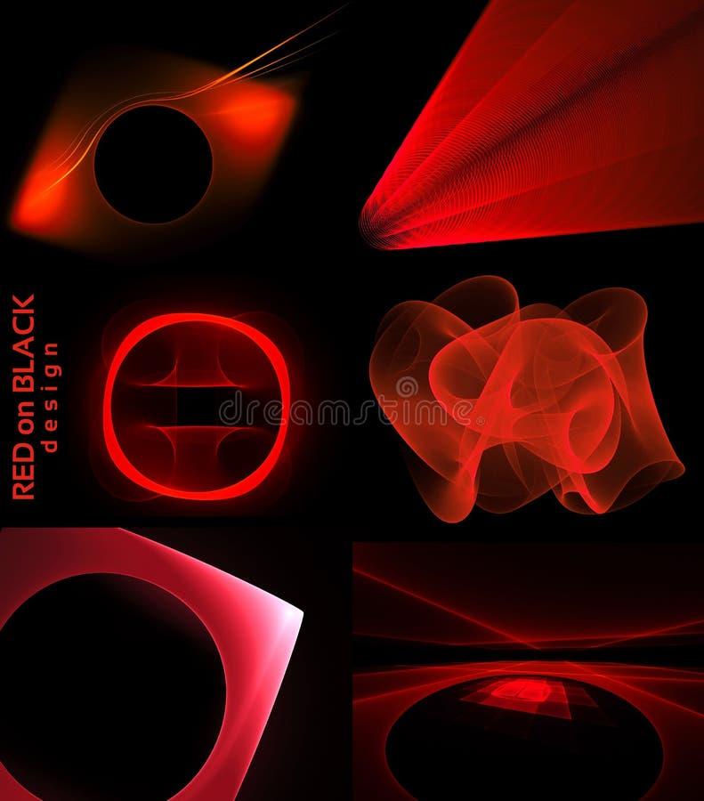 Coleção vermelha da tecnologia das formas ilustração do vetor