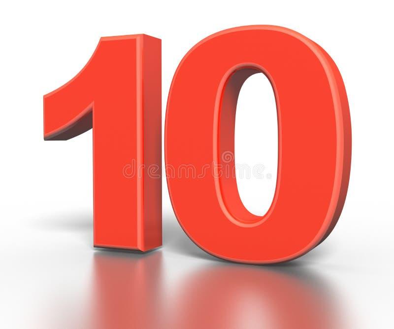 Coleção vermelha do número do dimentional três - dez ilustração stock