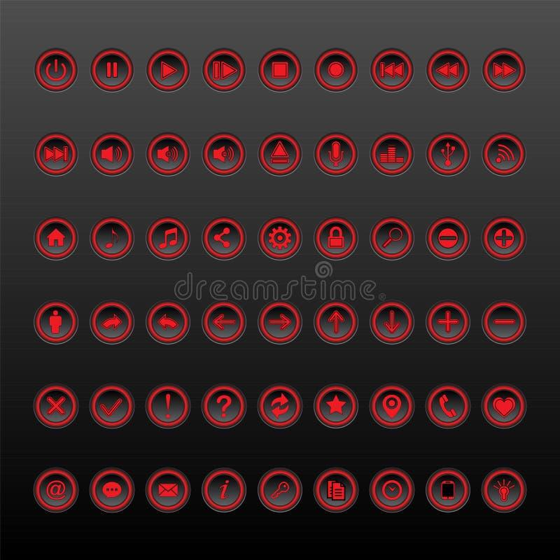 Coleção vermelha e preta do grupo do botão ilustração do vetor