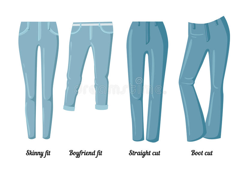 Coleções da roupa, seis estilos diferentes das calças de brim coloridas ilustração royalty free