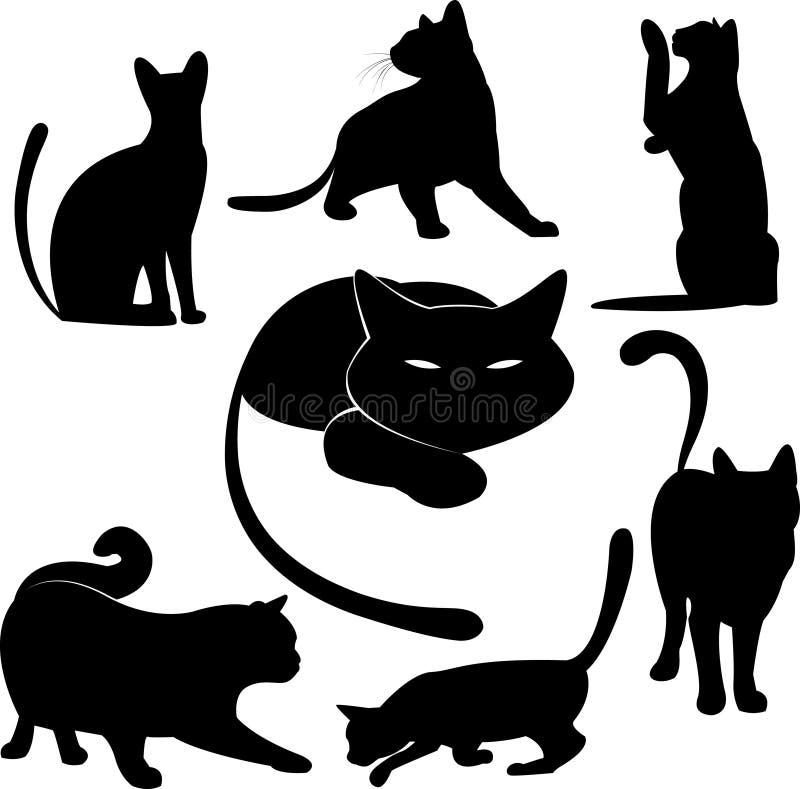 Coleções da silhueta do gato preto ilustração do vetor
