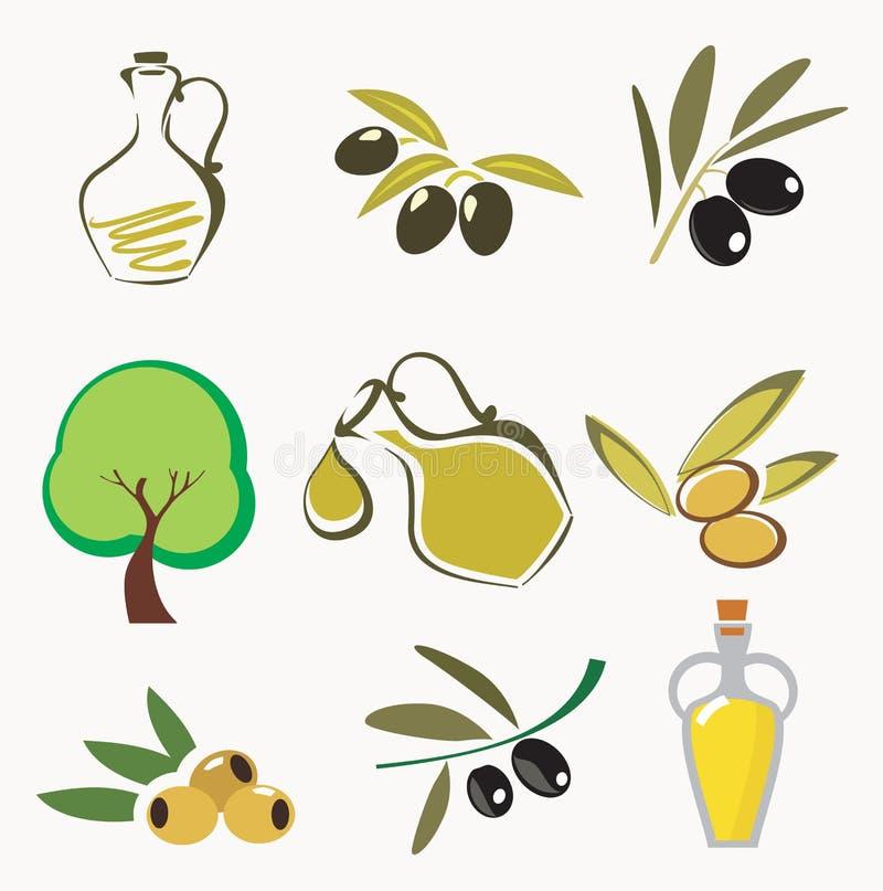 Coleções de ícones verde-oliva ilustração do vetor