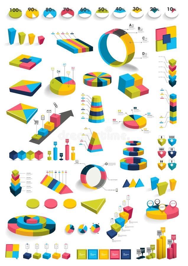 Coleções de diagramas do projeto do infographics 3D ilustração do vetor
