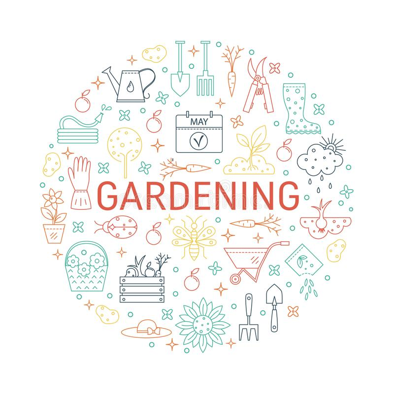Coleções de jardinagem dos ícones do vetor ilustração stock