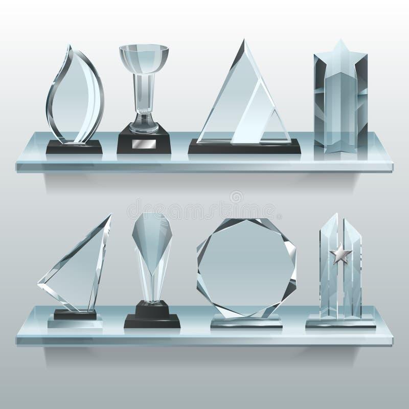 Coleções de troféus, de concessões e de copos transparentes do vencedor na prateleira do vidro ilustração stock