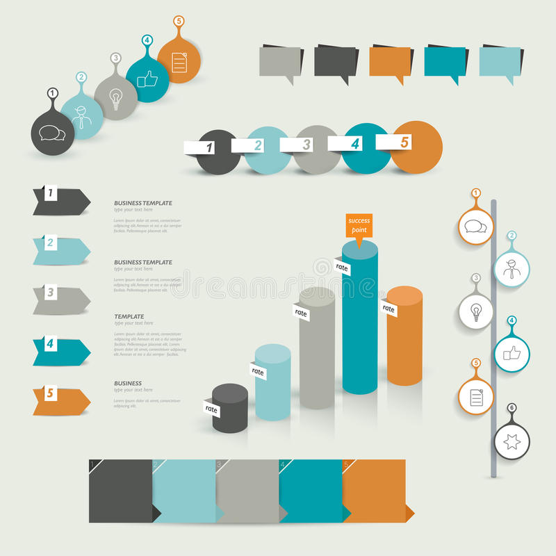 Coleções do molde liso do projeto do infographics ilustração stock