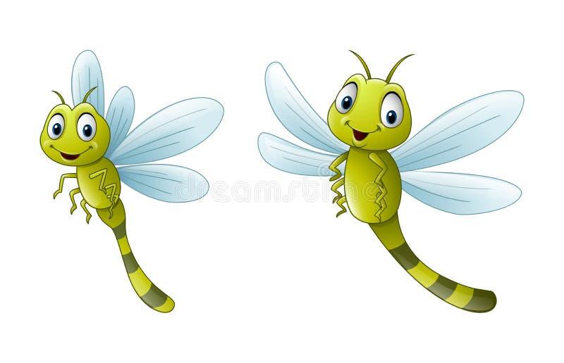 Coleções engraçadas da ilustração da libélula dos desenhos animados ilustração royalty free
