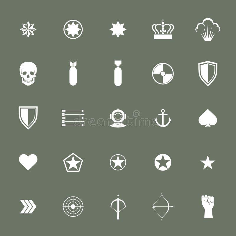 Coleções militares pequenas dos ícones da guerra do exército ilustração stock