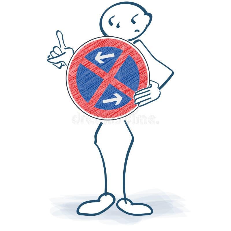 Cole a figura que guarda um sinal da proibição na frente do corpo e do absolute nenhum estacionamento ilustração do vetor