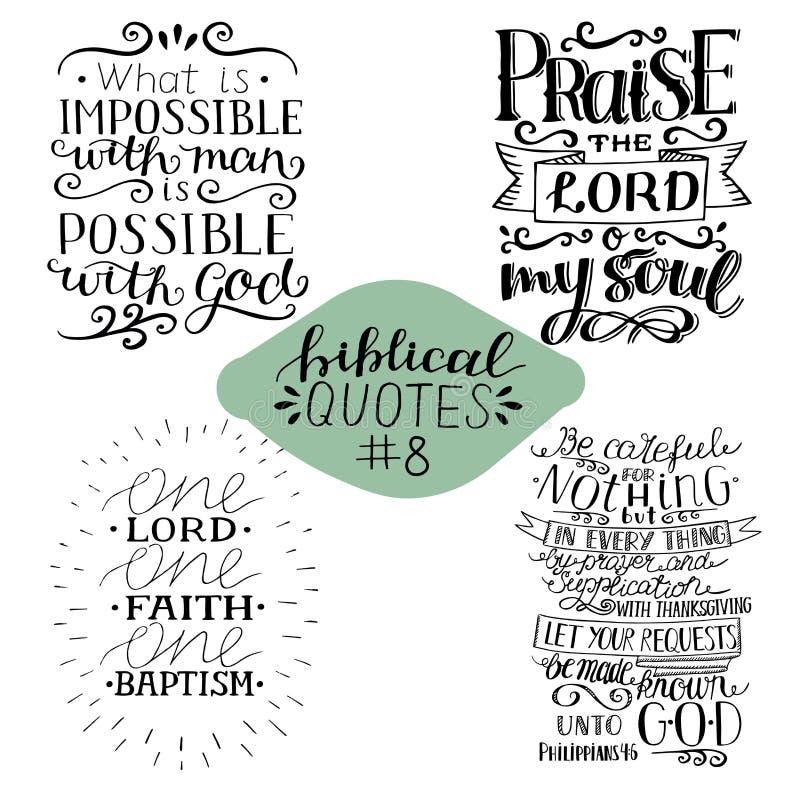 Cole??o 4 com 4 versos da B?blia Elogie o senhor Possível com deus Uma fé ilustração do vetor