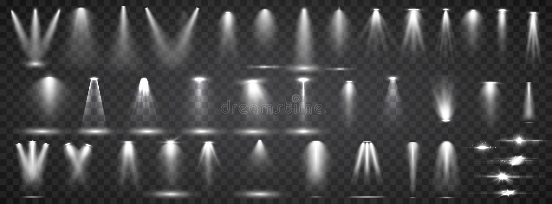 Cole??o da ilumina??o da cena Ilumina??o brilhante do grupo grande com projetores Ilumina??o do ponto da fase ilustração royalty free