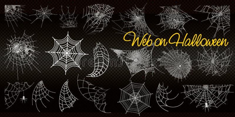 Cole??o da teia de aranha, isolada no fundo preto, transparente Spiderweb para o projeto de Dia das Bruxas Moldes do vetor ilustração royalty free