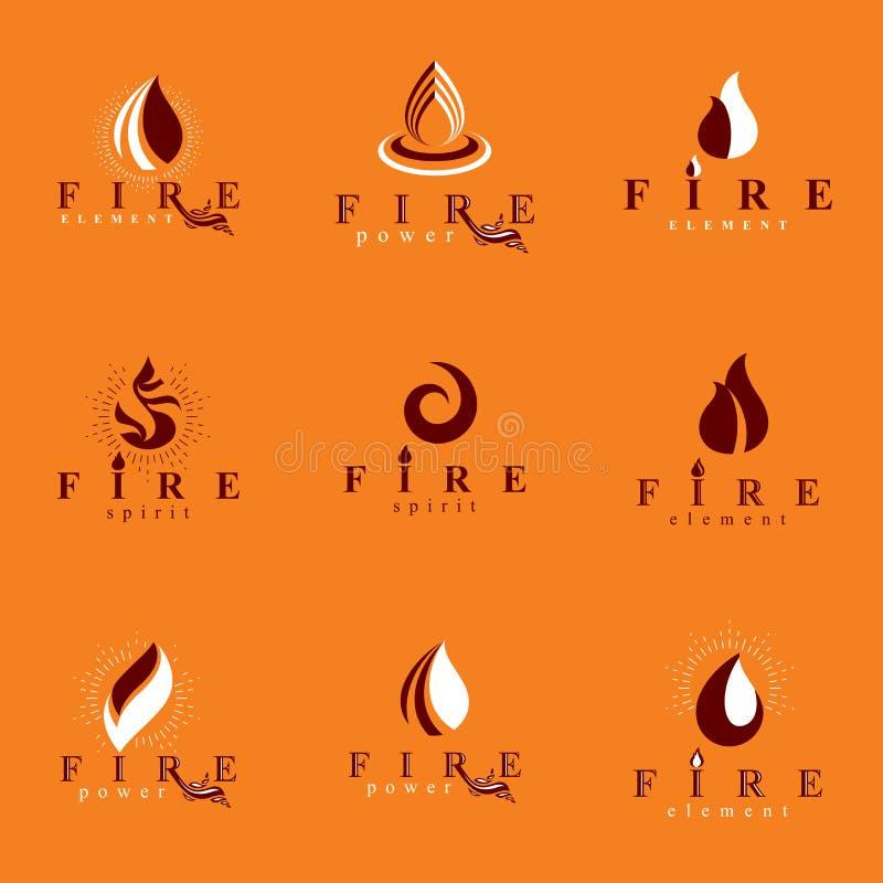 Cole??o de logotypes alaranjados quentes do vetor do fogo, elemento da natureza ilustração do vetor