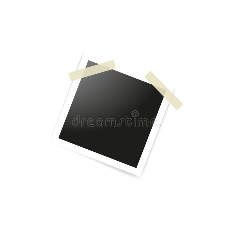 A cole??o de quadros vazios da foto sticked na fita adesiva ao fundo branco Modelos do molde para o projeto Vetor ilustração royalty free
