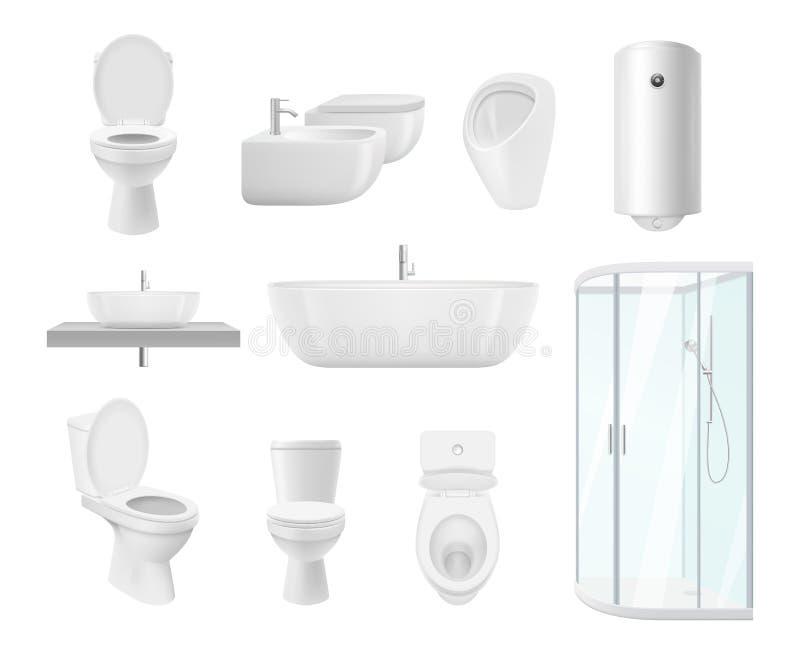 Cole??o do banheiro Objetos brancos modernos do dissipador do toalete do banheiro de imagens realísticas do vetor do banheiro ilustração stock