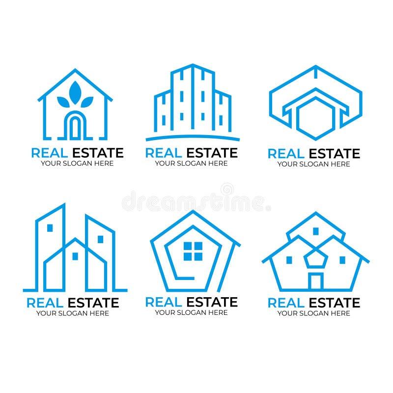 Cole??o do logotipo dos bens imobili?rios ilustração royalty free