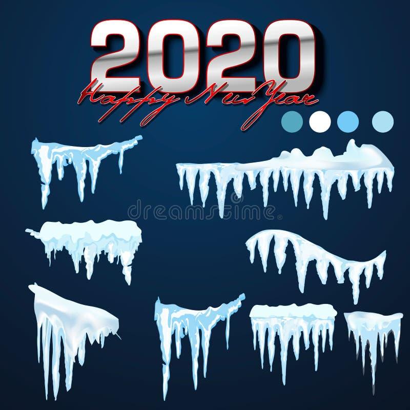 2020 cole??o do vetor de tamp?es da neve, pilha, sincelos, isolados no fundo, transparentes, no gelo, na bola de neve e no monte  ilustração stock