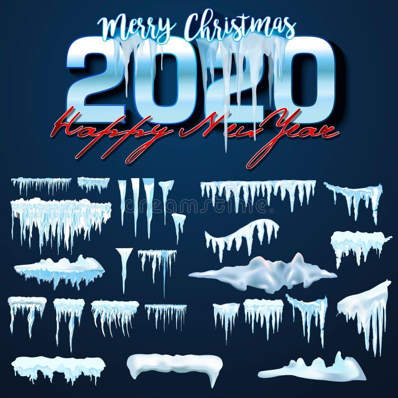 2020 cole??o do vetor de tamp?es da neve, pilha, sincelos, isolados no fundo, transparentes, no gelo, na bola de neve e no monte  ilustração royalty free