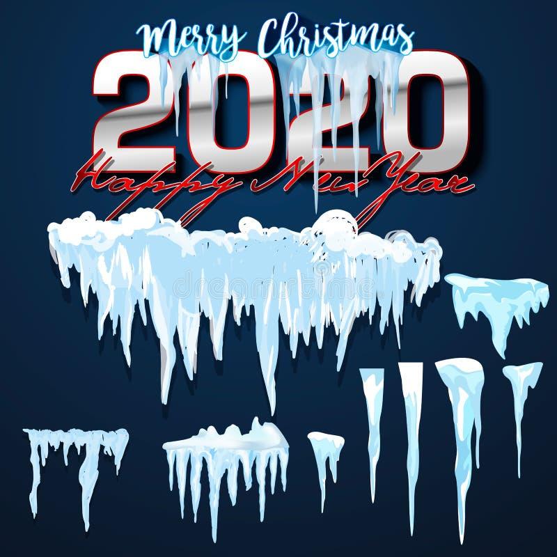2020 cole??o do vetor de tamp?es da neve, pilha, sincelos, isolados no fundo, transparentes, no gelo, na bola de neve e no monte  ilustração do vetor