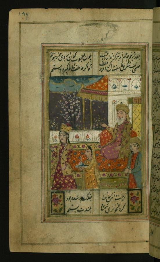 """Coleção dos poemas ( divan) , fiẠdo  do á¸¤Ä """"tomado pela beleza de uma jovem mulher, Walters Manuscript W 636, fol 141a fotografia de stock"""