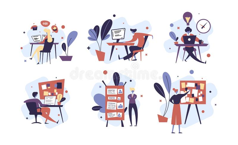Cole??o dos povos que organizam com sucesso suas tarefas e nomea??es Ajuste das cenas com eficiente e o eficaz fotos de stock