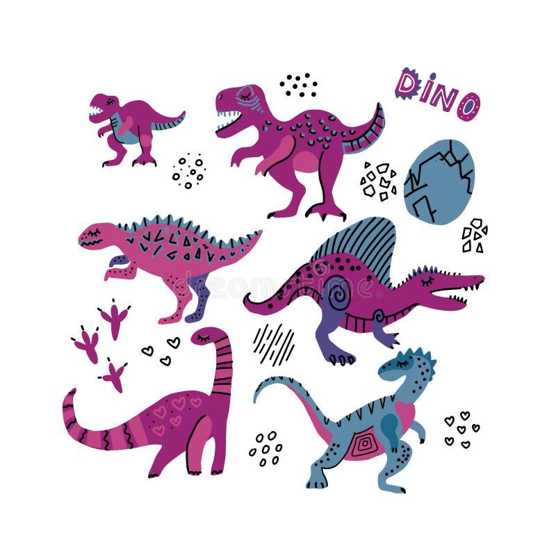 Cole??o engra?ada dos dinossauros Caráteres criançolas bonitos em cores roxas Dino tirado 6 mãos com ovos Os dinossauros ajustara ilustração stock