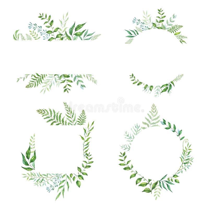 Cole??o floral do quadro da aquarela do vetor O grupo de folha retro bonito arranjou o un uma forma da grinalda ilustração royalty free
