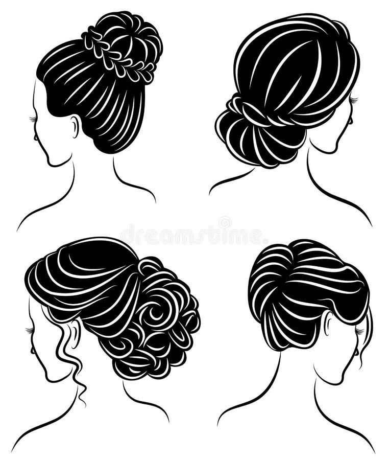 cole??o Perfil da silhueta de uma cabe?a bonito da senhora s A menina mostra seu penteado para o cabelo m?dio e longo Apropriado  ilustração royalty free