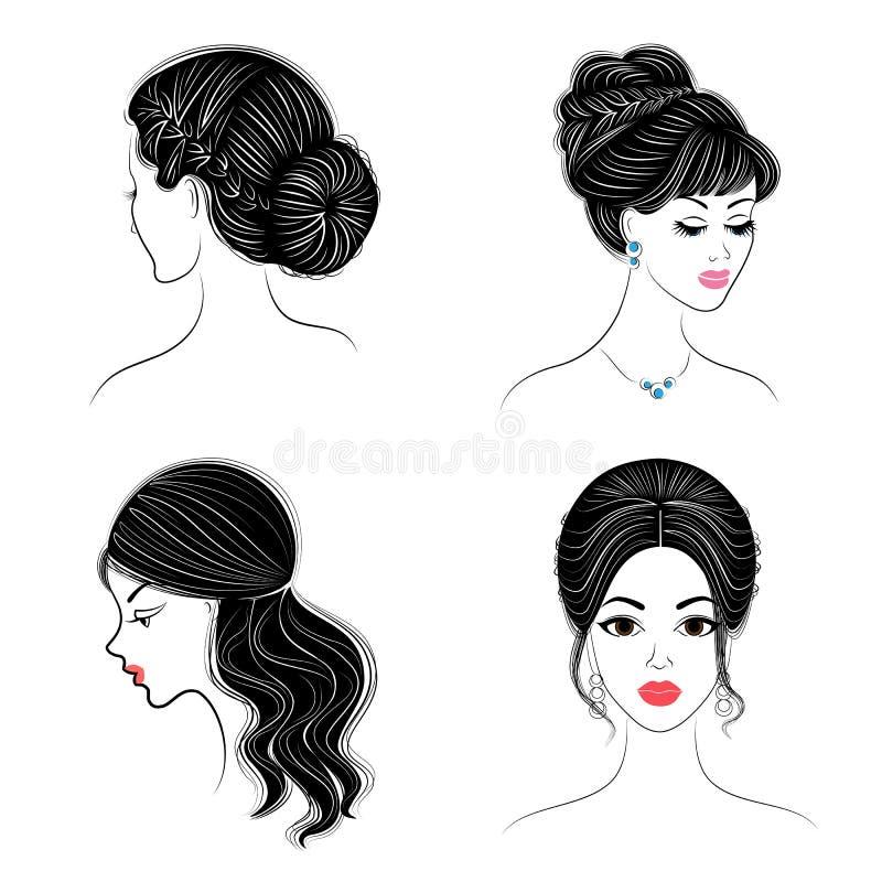 cole??o Perfil da silhueta de uma cabe?a bonito da senhora s A menina mostra seu penteado para o cabelo m?dio e longo Apropriado  ilustração do vetor