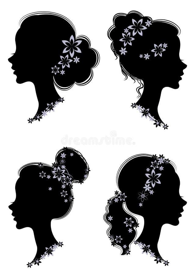 cole??o Perfil da silhueta de uma cabe?a bonito da senhora s A menina tem uma cauda do corte de cabelo para o cabelo bonito longo ilustração stock