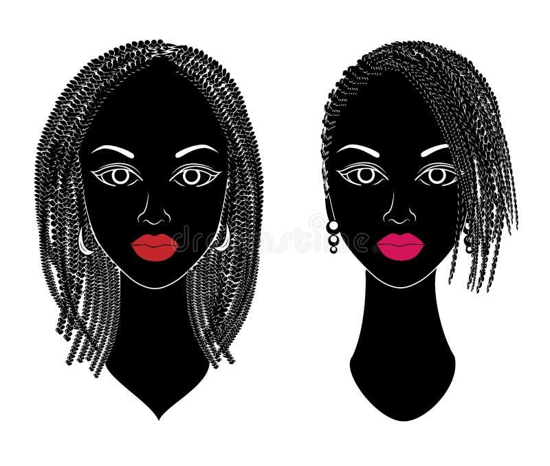 cole??o Perfil de uma cabe?a de senhoras doces As meninas afro-americanos mostram os penteados para o cabelo longo e m?dio Silhue ilustração royalty free