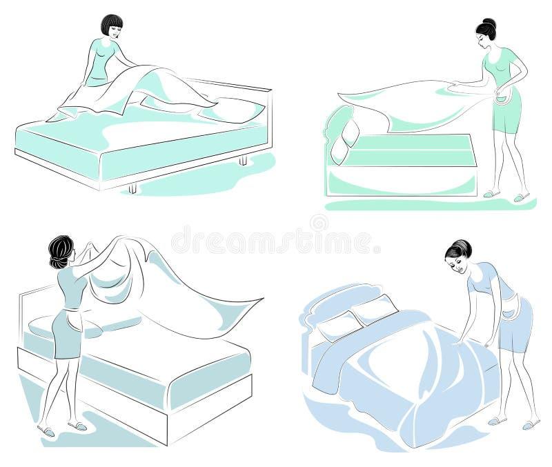 cole??o Perfil de uma senhora doce A menina est? fazendo a cama na sala Uma mulher ? uma boa esposa e uma dona de casa pura Vetor ilustração stock