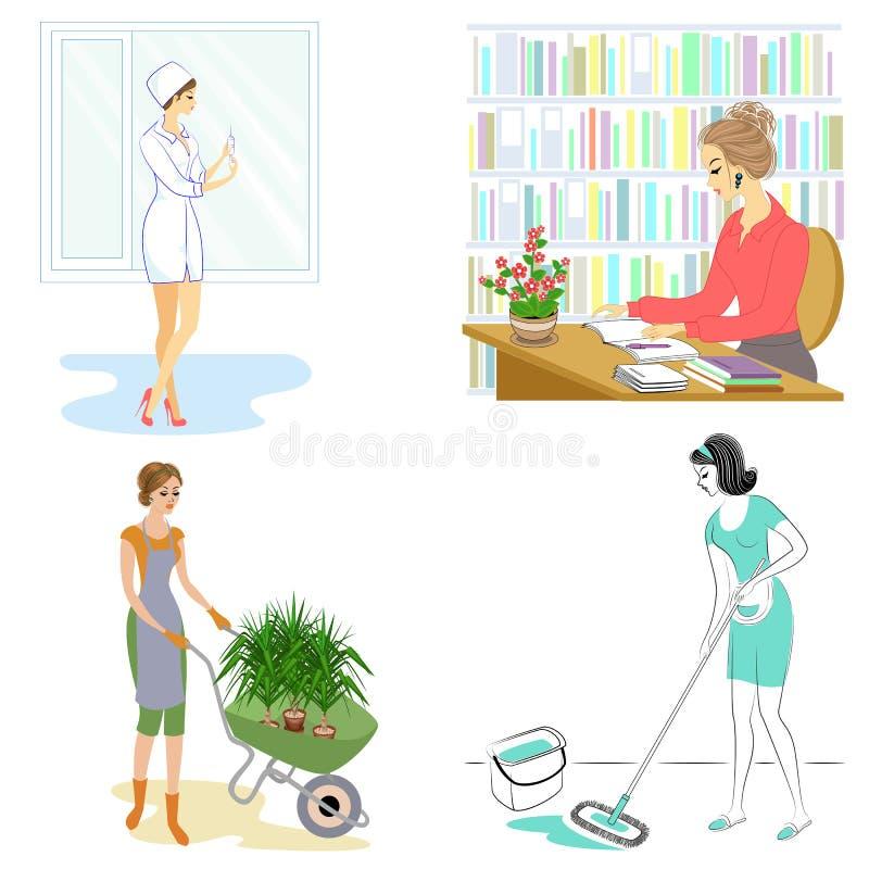 cole??o Profissões para a senhora Uma mulher é um jardineiro, uma enfermeira, um bibliotecário, uma senhora de limpeza As meninas ilustração do vetor