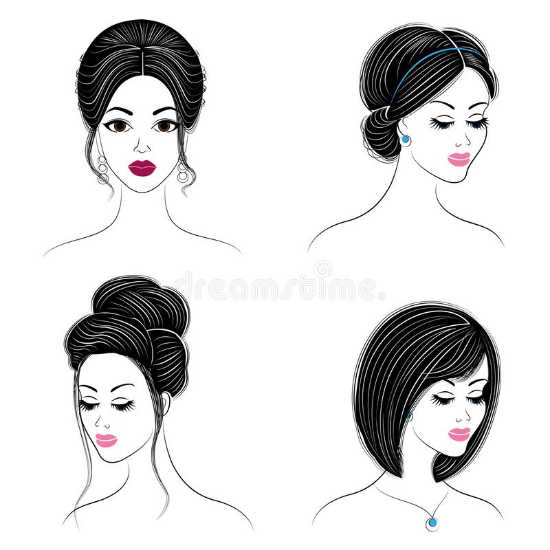 cole??o Silhueta da cabe?a de uma senhora bonito A menina mostra seu penteado no cabelo longo e m?dio Apropriado para o logotipo, ilustração do vetor