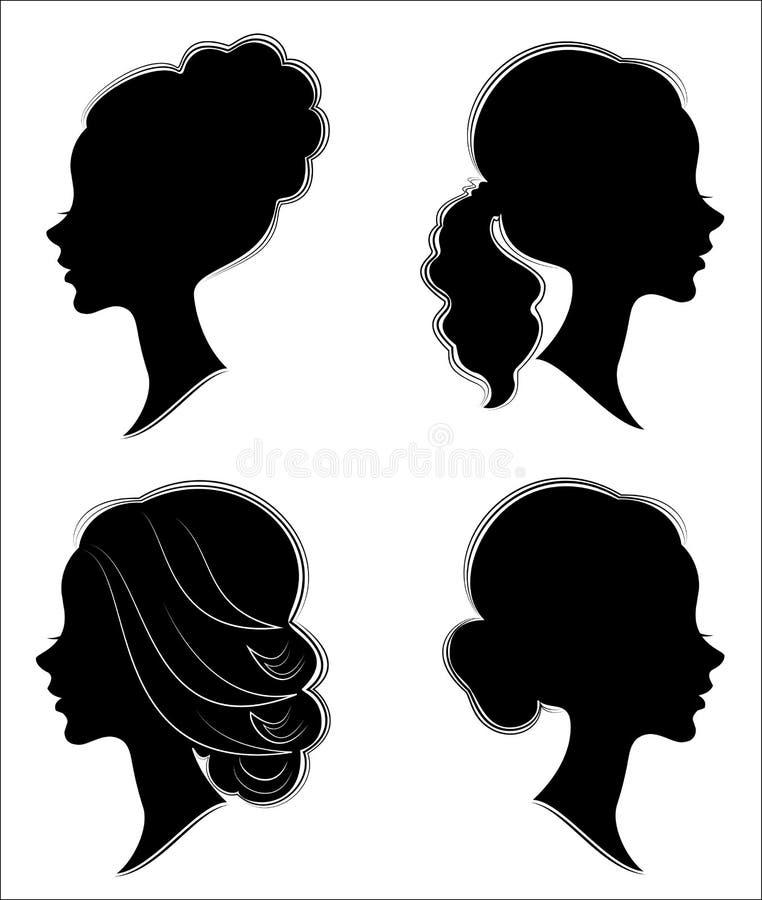 cole??o Silhueta da cabe?a de uma senhora doce A menina bonita mostra o penteado fêmea bonito no cabelo médio e longo apropriado ilustração royalty free